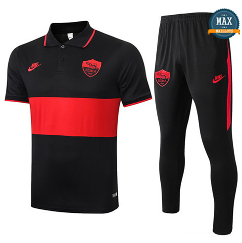 Max Maillot As Roma polo + Pantalon 2019/20 Training Noir/Rouge