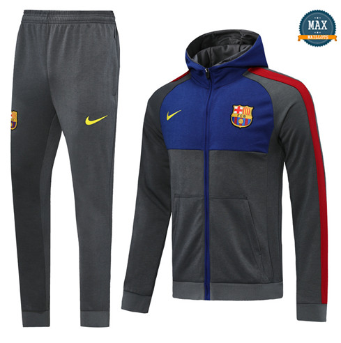 Max Veste Survetement Barcelone 2020/21 Gris/Bleu à Capuche