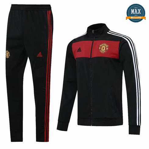 Max Veste Survetement Manchester United 2020 Noir/Rouge