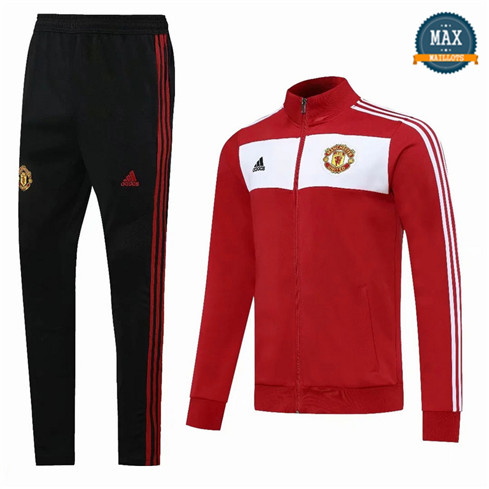 Max Veste Survetement Manchester United 2020 Rouge/Blanc/Noir
