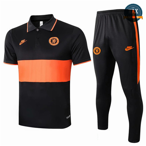 Max Maillots polo + Pantalon Chelsea 2020 Training Noir/Orange