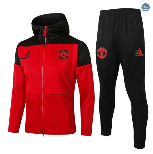 MaxVeste Survetement à Capuche Manchester United 2020 Rouge