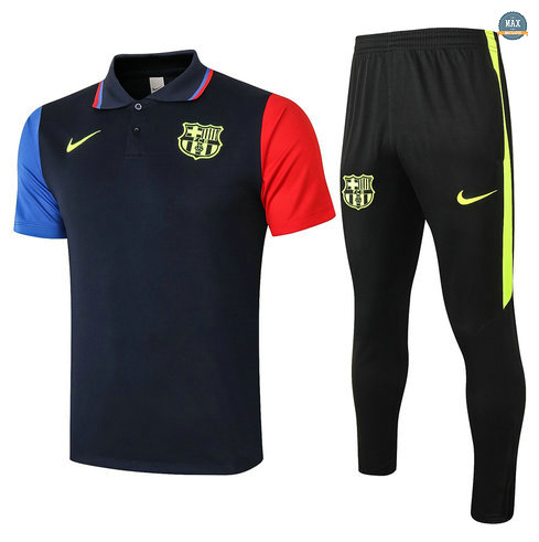 MaxBarcelone POLO + Pantalon 2020/21 Training Bleu Marine Bleu/Rouge