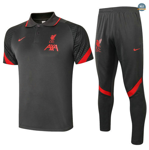 MaxLiverpool POLO + Pantalon 2020/21 Training Gris foncé