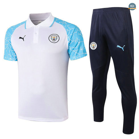 MaxManchester City POLO + Pantalon 2020/21 Training Blanc/Bleu