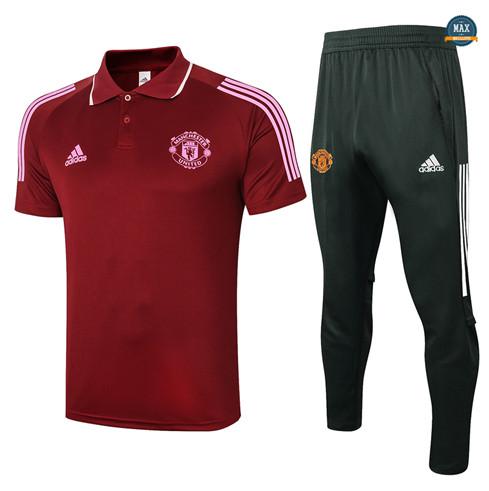 Max Maillots Manchester United Polo + Pantalon 2020/21 Training Bordeaux