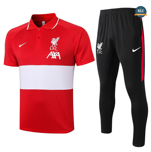Max Maillots Liverpool POLO + Pantalon 2020/21 Training Rouge/Blanc