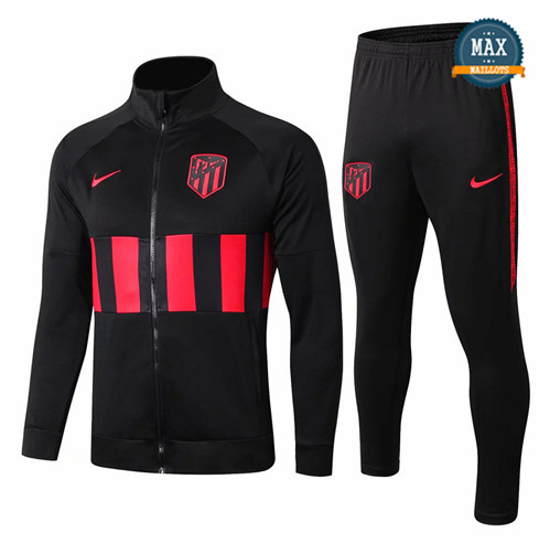 Veste Survetement Atletico Madrid 2019/20 Noir/Rouge bande