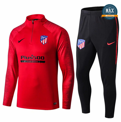 Survetement Atletico Madrid 2019/20 Rouge/Noir sweat zippé