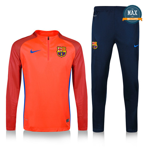 Survetement Barcelone 2019/20 Orange/Bleu Marine sweat zippé