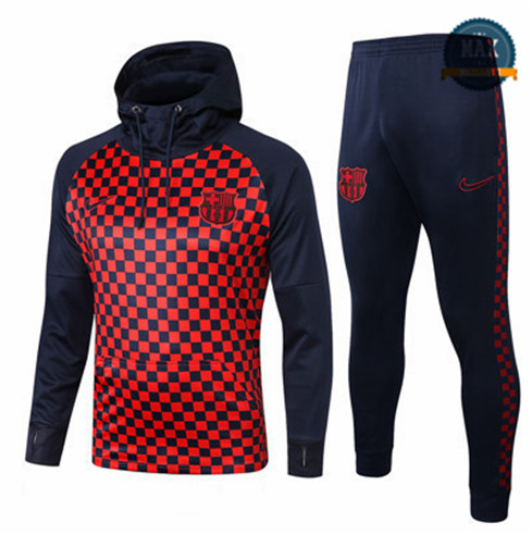 Veste Survetement à Capuche Barcelone 2019/20 Rouge Grille Sweat