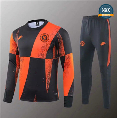 Survetement Chelsea 2019/20 Noir Orange Jaune bande