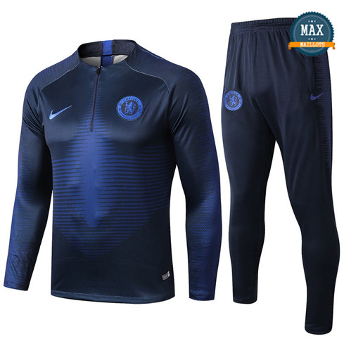 Survetement Chelsea 2019/20 Bleu Marine sweat zippé