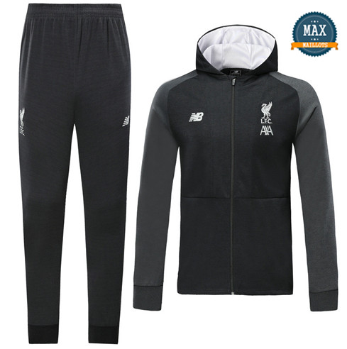 Veste Survetement à Capuche Liverpool 2019/20 Noir