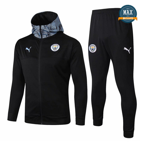 Veste Survetement à Capuche Manchester City 2019/20 Noir/Bleu