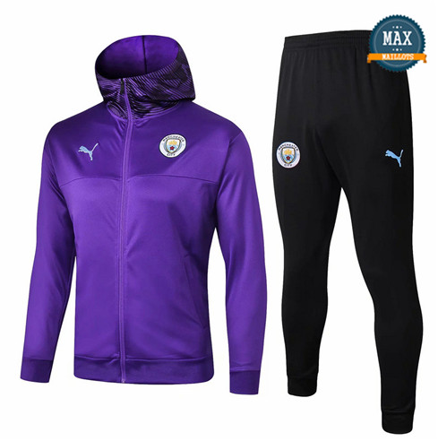 Veste Survetement à Capuche Manchester City 2019/20 Violet Noir