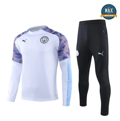 Survetement Manchester City 2019/20 Blanc/Noir sweat zippé