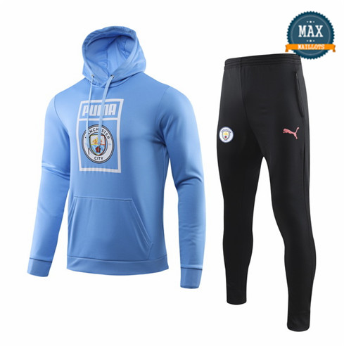 Veste Survetement à Capuche Manchester City 2019/20 Bleu Sweat