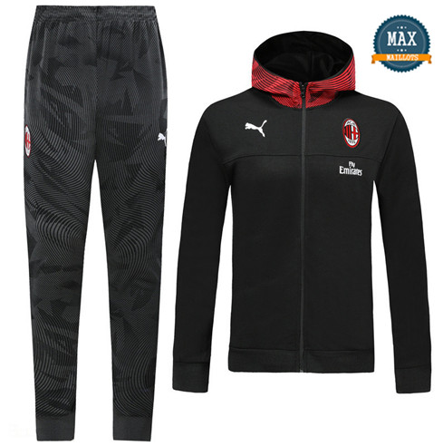 Survetement à Capuche AC Milan 2019/20 Noir/Rouge