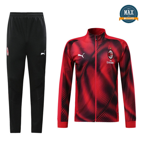 Veste Survetement AC milan 2019/20 Rouge/Noir