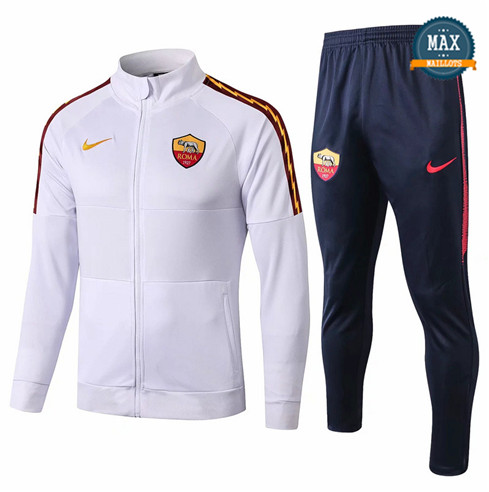 Veste Survetement AS Roma 2019/20 Blanc/Bleu Marine