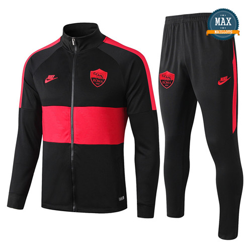 Veste Survetement AS Roma 2019/20 Noir/Rouge bande