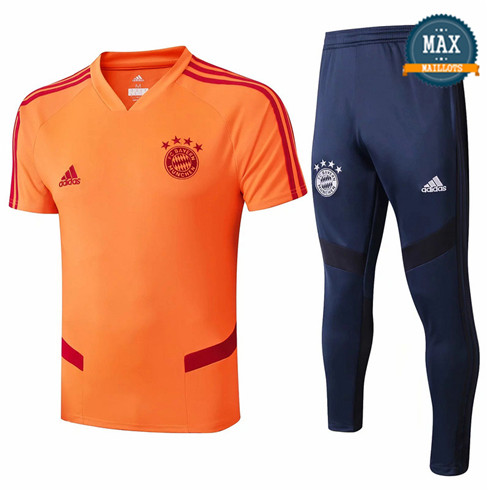 Maillot + Pantalon Bayern Munich 2019/20 Training Orange/Bleu Marine Col V