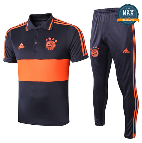 Maillot Polo + Pantalon Bayern Munich 2019/20 Training Bleu Marine/Orange Jaune bande