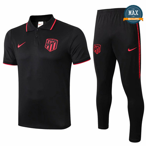 Maillot Polo + Pantalon Atletico Madrid 2019/20 Training Noir/Rouge bande