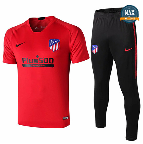 Maillot + Pantalon Atletico Madrid 2019/20 Training Rouge/Noir Col V