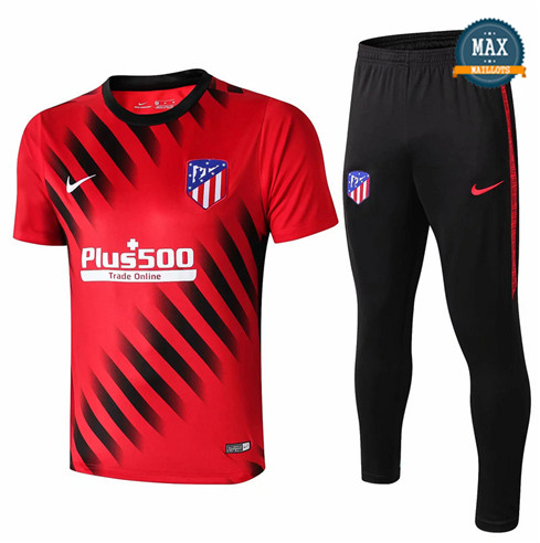 Maillot + Pantalon Atletico Madrid 2019/20 Training Rouge/Noir Col Rond