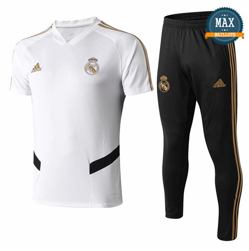 Maillot + Pantalon Real Madrid 2019/20 Training Blanc/Noir Col V