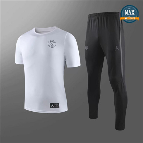 Maillot + Pantalon Paris Saint Germain 2019/20 Training Blanc/Noir Col Rond