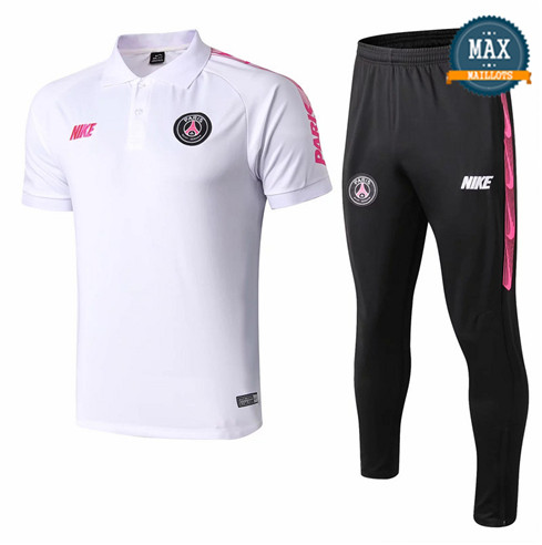Maillot Polo + Pantalon Paris Saint Germain 2019/20 Training Blanc/Noir