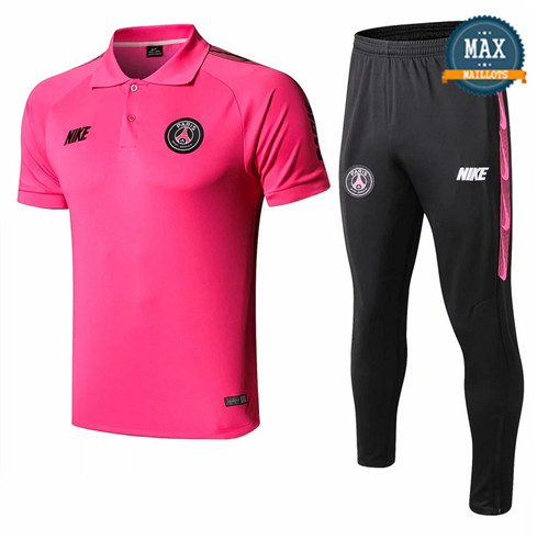 Maillot Polo + Pantalon Paris Saint Germain 2019/20 Training Rose Rouge/Noir