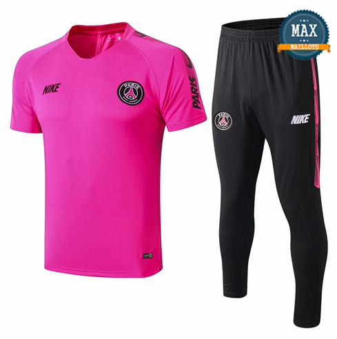 Maillot + Pantalon Paris Saint Germain 2019/20 Training Rose/Noir Col V