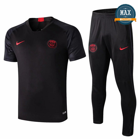 Maillot + Pantalon Paris Saint Germain 2019/20 Training Noir Col V