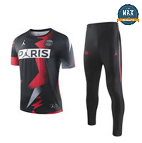 Maillot + Pantalon Paris Saint Germain 2019/20 Training Noir Col Rond