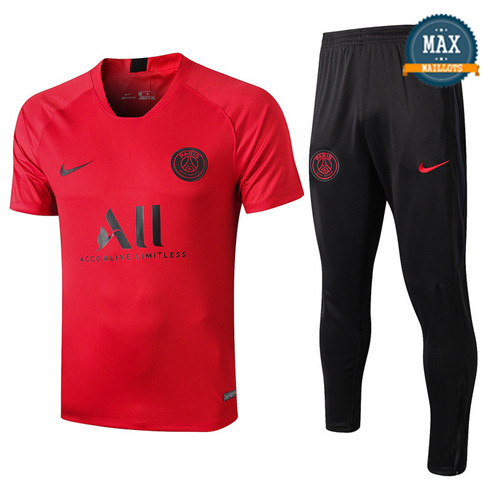 Maillot + Pantalon Paris Saint Germain 2019/20 Training Rouge/Noir Col V