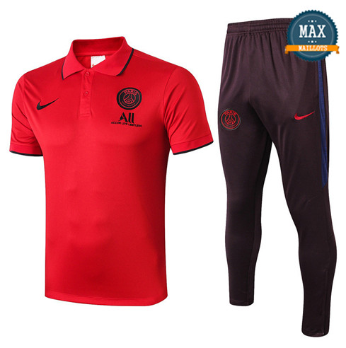 Maillot Polo + Pantalon Paris Saint Germain 2019/20 Training Rouge/Noir