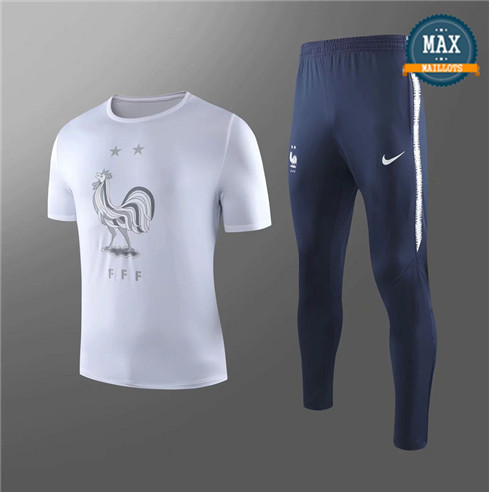 Maillot + Pantalon France 2019/20 Training Blanc/Noir Col Rond