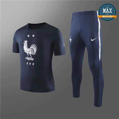 Maillot + Pantalon France 2019/20 Training Noir Col Rond