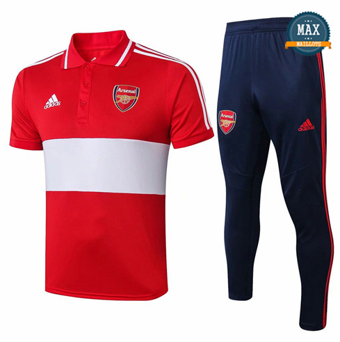 Maillot Polo + Pantalon Arsenal 2019/20 Training Rouge/Bleu