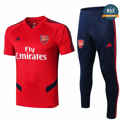 Maillot + Pantalon Arsenal 2019/20 Training Rouge/Bleu Marine Col V