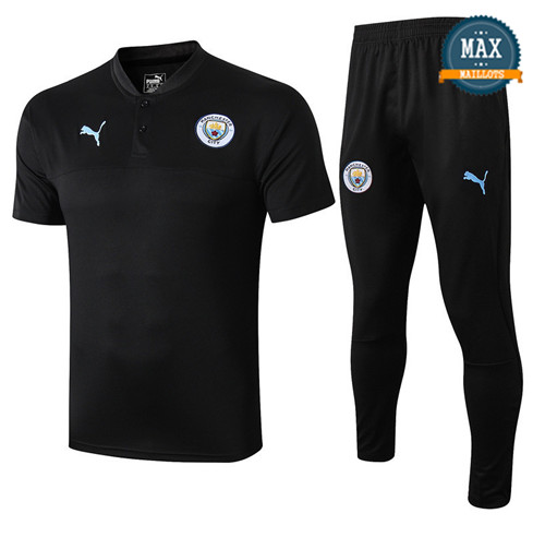 Maillot + Pantalon Manchester City 2019/20 Training Noir Col V