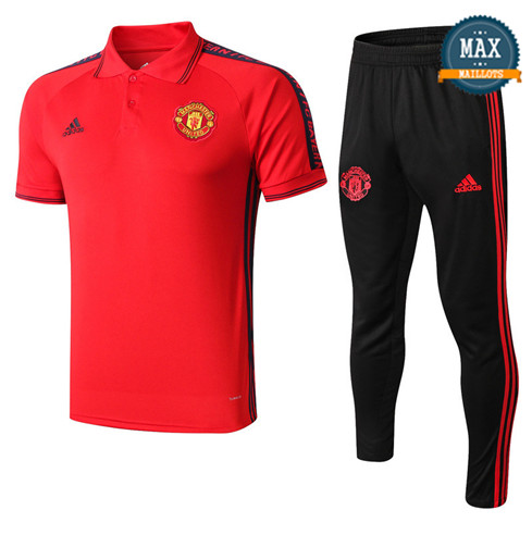 Maillot Polo + Pantalon Manchester United 2019/20 Training Rouge/Noir