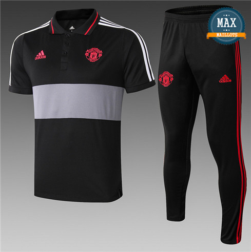 Maillot Polo + Pantalon Manchester United 2019/20 Training Noir