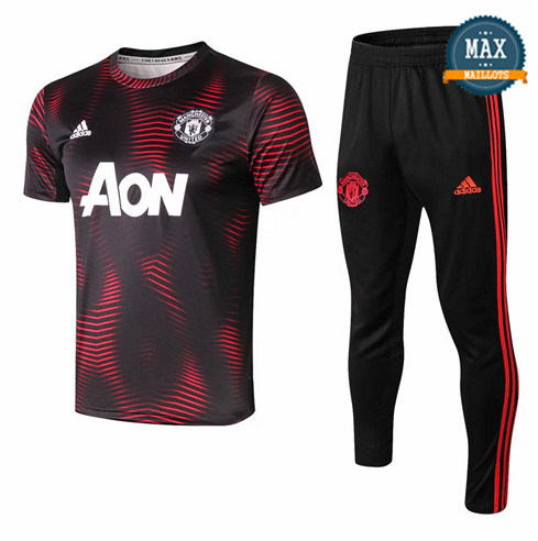 Maillot + Pantalon Manchester United 2019/20 Training Noir Col Rond