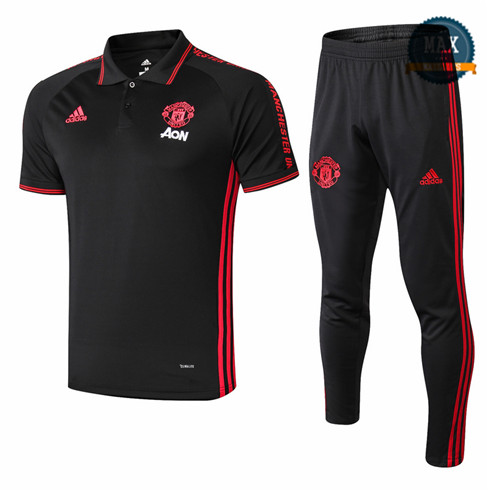 Maillot Polo + Pantalon Manchester United 2019/20 Training Noir/Rouge bande