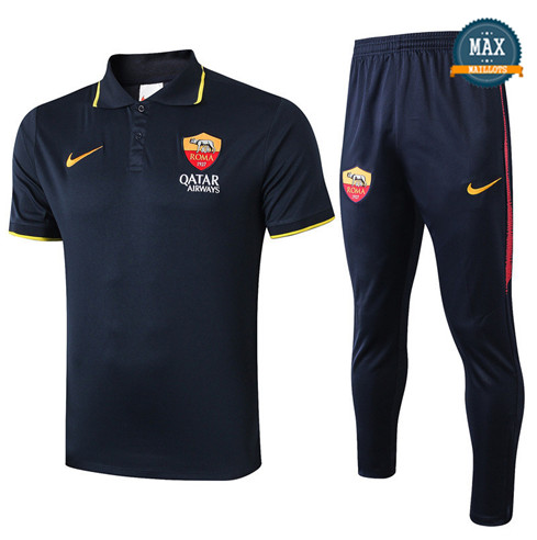 Maillot Polo + Pantalon AS Roma 2019/20 Training Bleu Marine